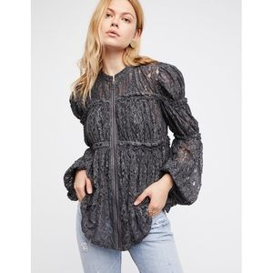Free People Gray Ruched Lace Jacket Crochet Sheer